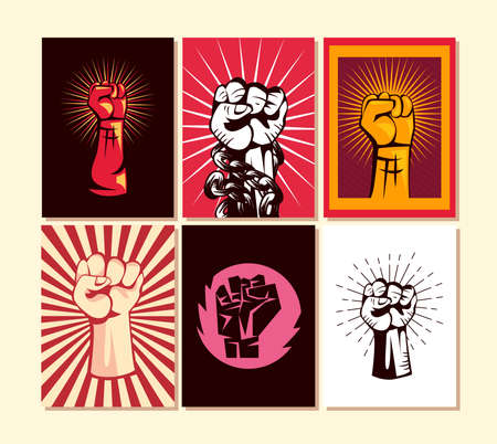 Revolution fists up banners icon collection design, Manifestation protest demonstration and political theme Vector illustration