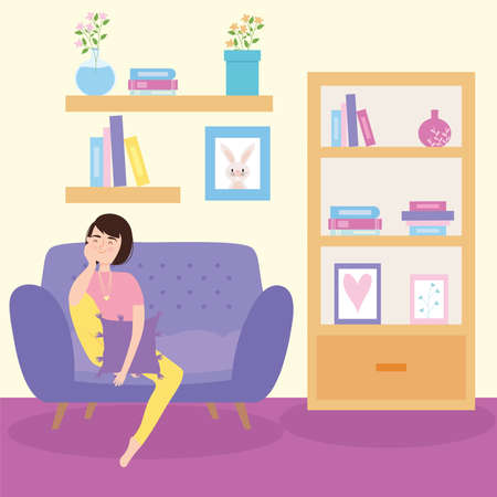 Woman on couch staying home