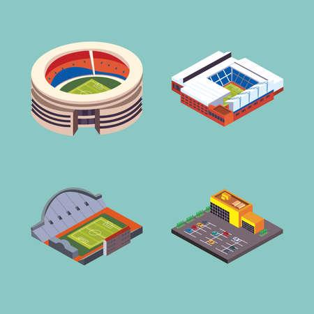 stadium parking lot icon collection Vektoros illusztráció