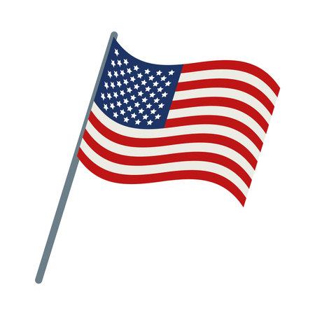 american flag on pole design Ilustração Vetorial