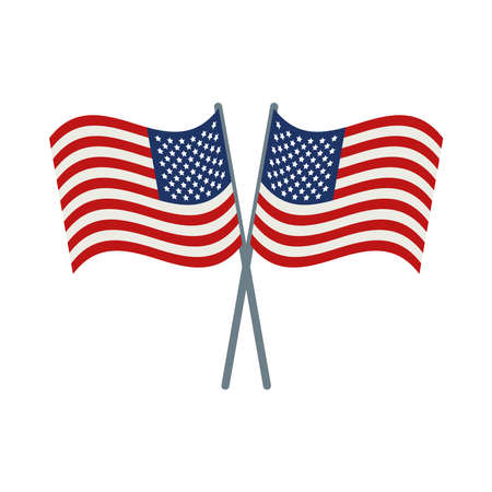 usa flags crossed on background