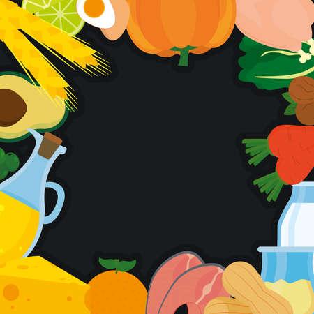keto food frame on background