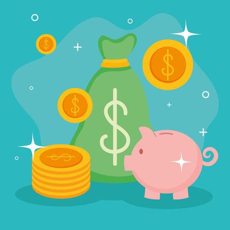 Money bag coins