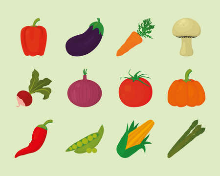 healthy vegetables set