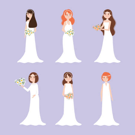 set of happy brides
