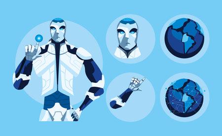 Robots cartoons icon collection