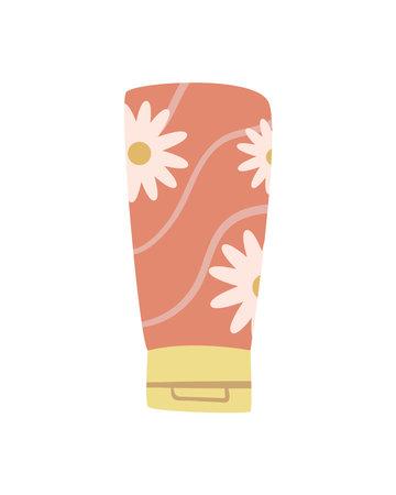 floral cream tube 矢量图像