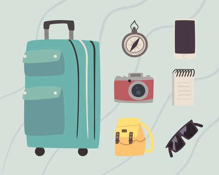 seven bon voyage icons 矢量图像