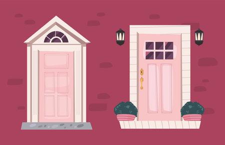 two fronts doors 矢量图像