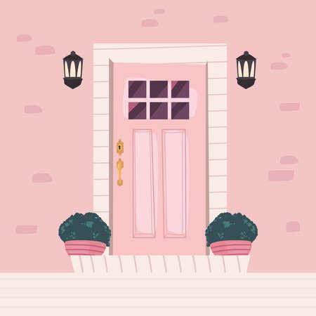 pink door front scene