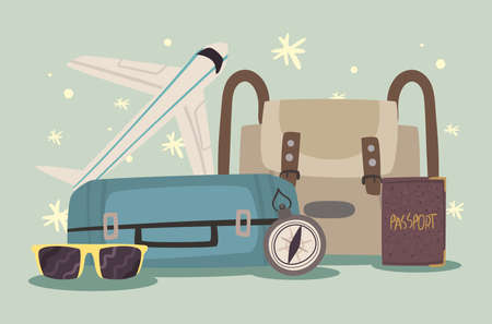 suitcases and bon voyage icons