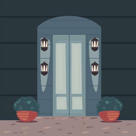 front gray door scene 矢量图像