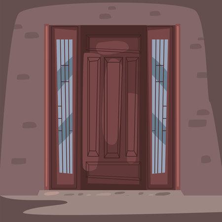 front brown door scene