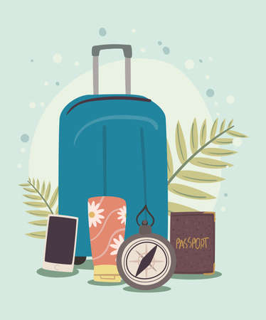 suitcase and traveling icons