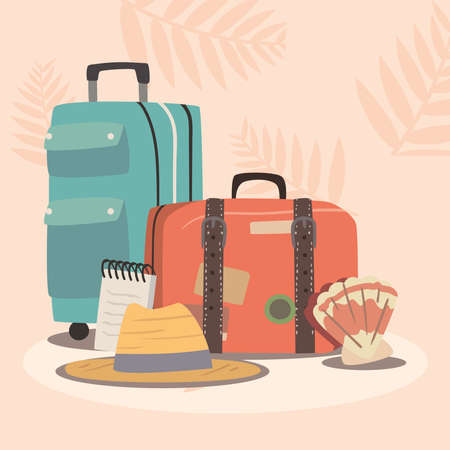 suitcases and travel icons 矢量图像
