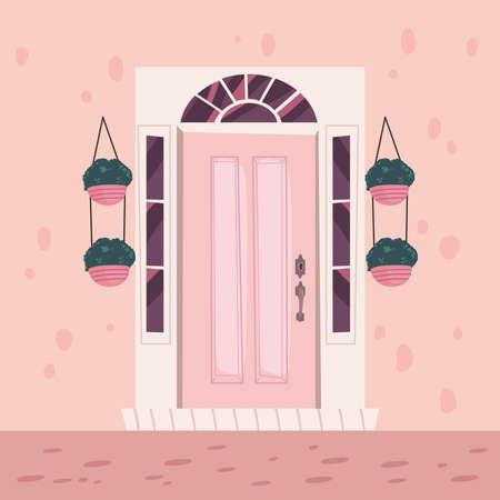 front pink door scene 矢量图像