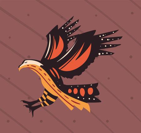 indigenous animal eagle scene 矢量图像