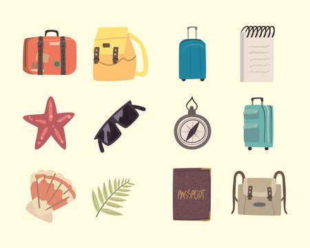 twelve bon voyage icons 矢量图像