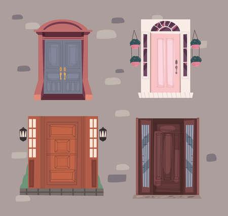four fronts doors 矢量图像