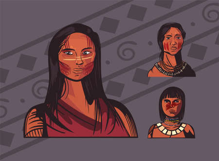three female indigenous 矢量图像