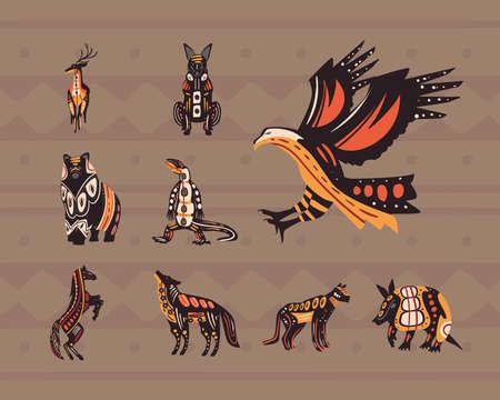 indigenous style nine animals