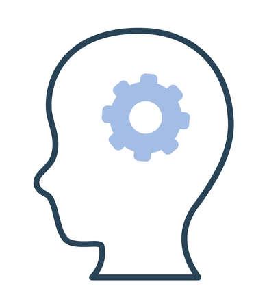head with gear 矢量图像