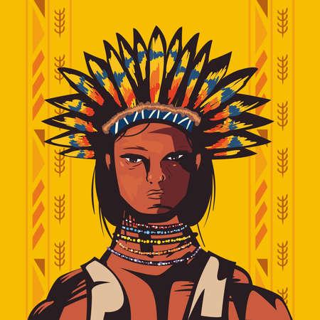 male indigenous chief scene 矢量图像