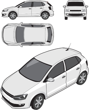 orthographic: Compact Car Illustration