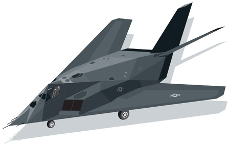 F-117 Nighthawk Stealth Fighter on ground Vector