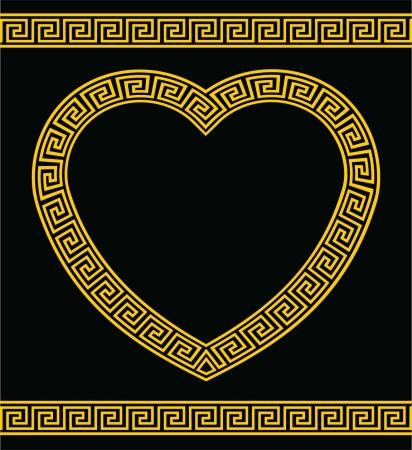 romanticismo: Chiave greco di cuore Confine Vettoriali