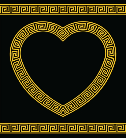 Greek Key Heart Shape Border Vector