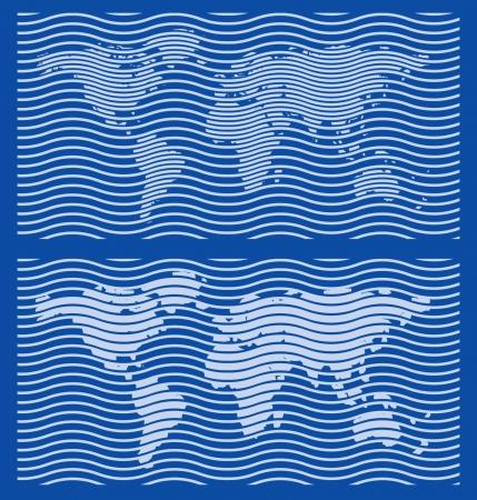 stempel reisepass: Grob Weltkarte Guilloche Designs