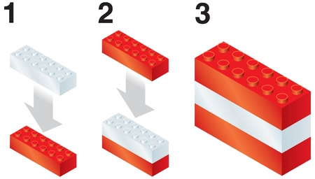 Building blocks making Austrian flag Stock Vector - 20198462