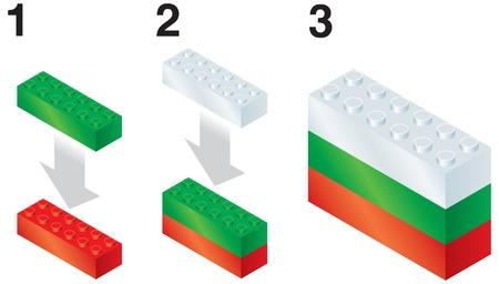 reorganize: Building blocks making Bulgarian flag Illustration