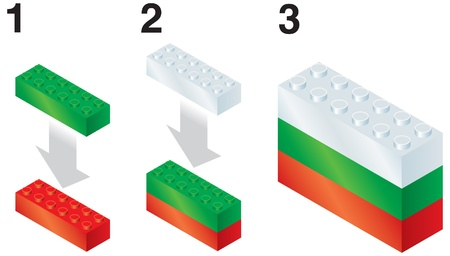 rebuild: Building blocks making Bulgarian flag Illustration