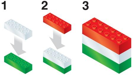 reorganize: Building blocks making Hungarian flag Illustration