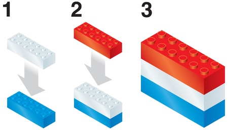 Building blocks making Luxembourg flag