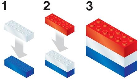 reorganize: Building blocks making Netherlands flag
