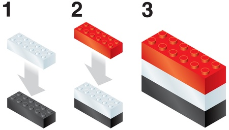 reorganize: Building blocks making Yemen flag