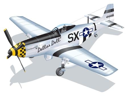 seconda guerra mondiale: Illustrazione vettoriale dettagliata di P-51 Mustang Dallas Doll Vettoriali