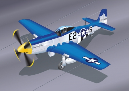 Detailed Vector Illustration of P-51 Mustang  Easy 2 Sugar  Vector