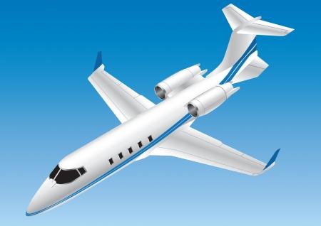 oorkonde: Gedetailleerde vector illustratie van een Learjet Stock Illustratie