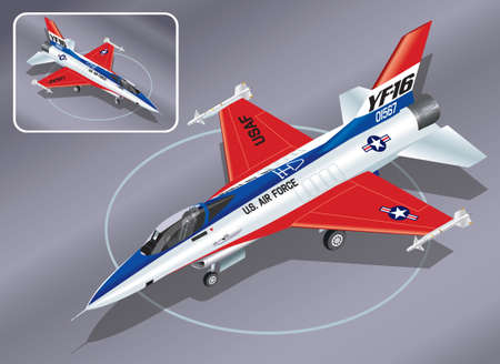 Detailed Isometric Vector Illustration of F-16 Jet Fighter Vector