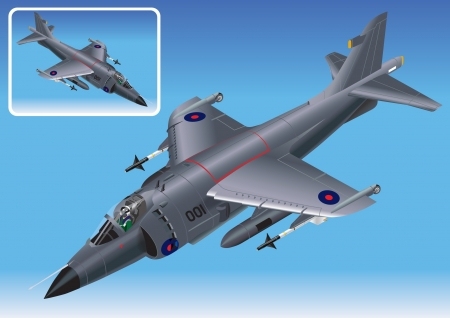 falklands war: Detailed Isometric Vector Illustration of Royal Navy Sea Harrier