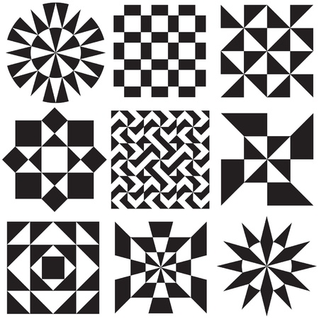 Geometric Patterns in Black and White Vector