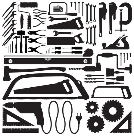 drill bit: Tool collection vector silhouettes