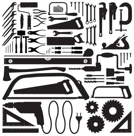 carpenter pincer: Tool collection vector silhouettes