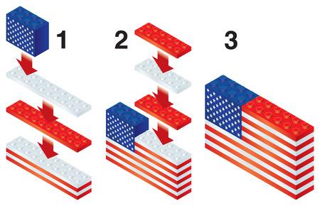 reorganize: Building blocks making US flag