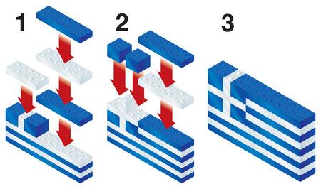 reorganize: Building blocks making Greek flag Illustration