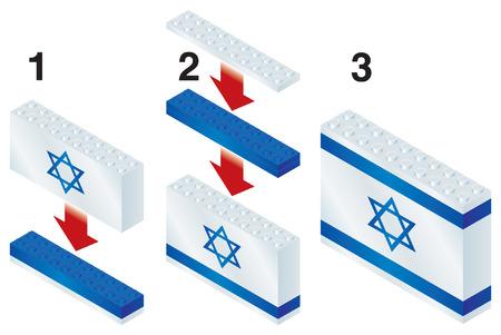 rebuild: Building blocks making Israeli flag Illustration